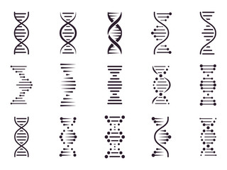 Spiral DNA icon. DNA molecule helix spiral structure, medical science chromosome concept, biology genetic symbols isolated vector icons set. Biochemistry. Deoxyribonucleic acid chain. Genetic code