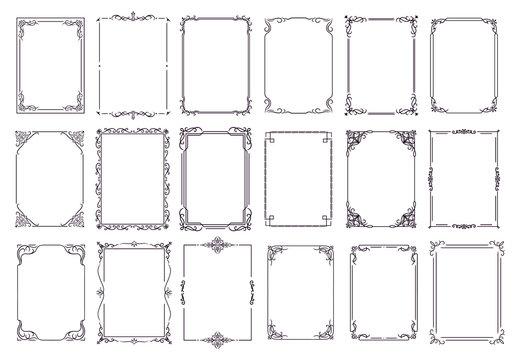 Vintage ornament frame. Decorative border frames, retro style divider. Elegant vintage frame and wedding ornaments Isolated icons vector set. Calligraphic filigree black ink borders collection
