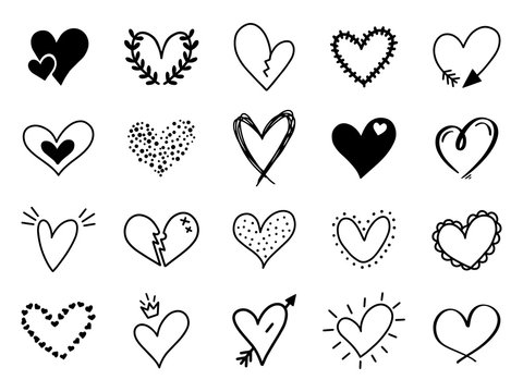 Doodle love heart. Loving cute hand drawn sketched hearts, doodle valentine heart shape drawing elements for greeting cards and valentines day design vector isolated icons set. Sketchy amour pack