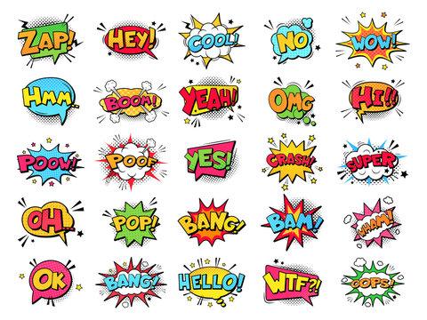 Comic book bubbles. Cartoon explosions funny comical speech clouds, comics words, thinking bubbles and graphic conversation text elements vector illustration set. Comic book emotional bubbles