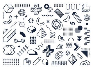 Graphical memphis element. Retro geometric design elements, 80s memphis style funky modern print vector isolated symbols collection. Old school geometrical style, volumetric objects