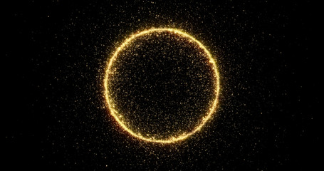 Gold glitter circle of light shine sparkles and golden spark particles in circle frame on black background. Christmas magic stars glow, firework confetti of glittery ring shimmer Wall mural
