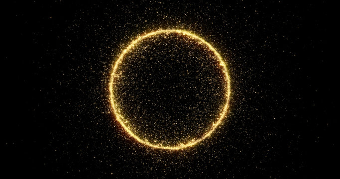 Gold glitter circle of light shine sparkles and golden spark particles in circle frame on black background. Christmas magic stars glow, firework confetti of glittery ring shimmer