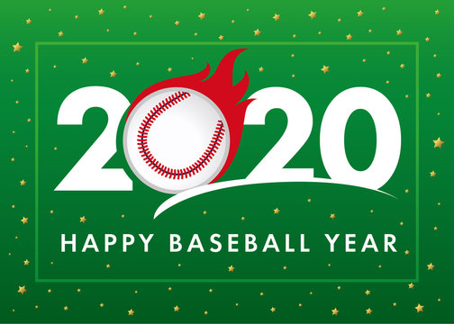 Happy Baseball Year 2020 text with ball in flame on green background. Merry Christmas vector illustration with 2, ball and 20 number, invitation card for winter baseball tournament