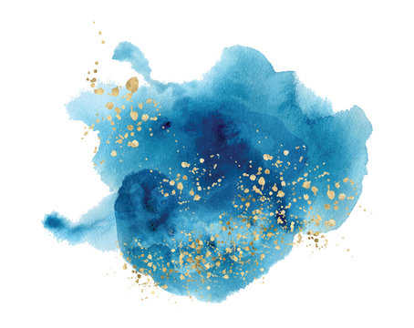 Watercolor abstract splash Color painting texture. Blue background