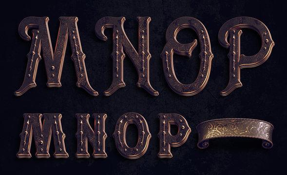 3d render of vintage textured font set with bronze metallic elements.