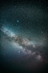 Real Night Sky Stars With Milky Way Galaxy. Natural Starry Sky Colorful Background