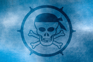 Skull and bones in a circle depicted on a blue background resembling ice