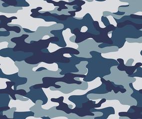 Fototapeta  Blue army camouflage seamless print pattern.