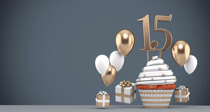 Number 15 gold birthday cupcake with balloons and gifts. 3D Render