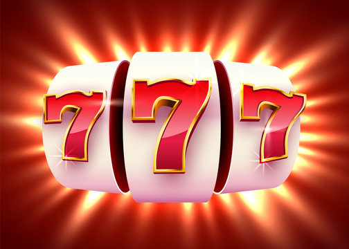 Slot machine wins the jackpot. 777 Big win casino concept.