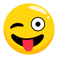 Photozone accessory, winking smiley, emoji with tongue, round character with positive emotion. Happy yellow icon, cheerful object for photoshoot. Funny expression symbol, smiley avatar vector