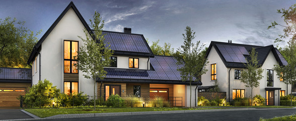 Beautiful houses with solar panels on the roof Fotomurales