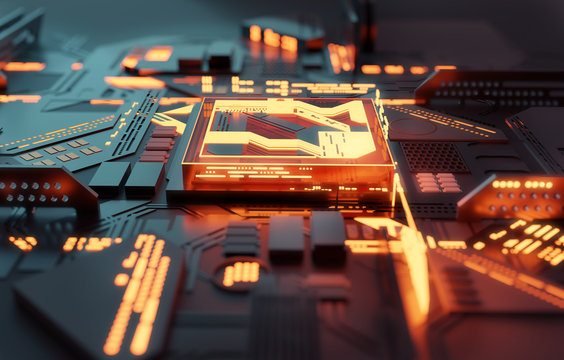 A futuristic glowing CPU quantum computer processor. 3D illustration.