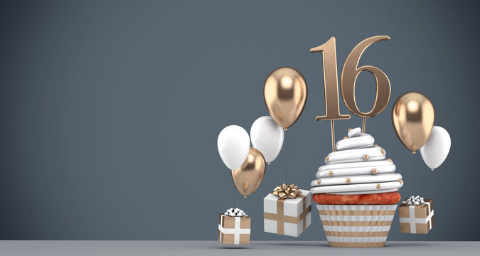 Number 16 gold birthday cupcake with balloons and gifts. 3D Render
