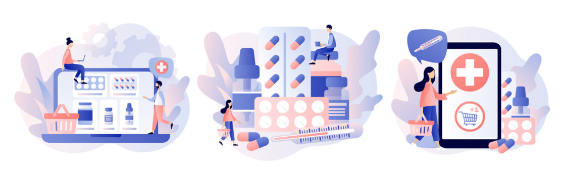 Online pharmacy store concept. Buy medicaments and drugs online. Tiny people Pharmacists in Drugstore near Medicine Pills and Bottles. Modern flat cartoon style.Vector illustration on white background