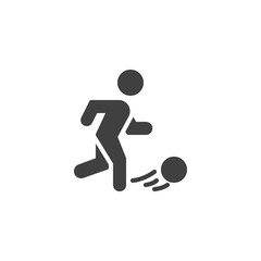 Soccer Player vector icon. filled flat sign for mobile concept and web design. Football player Kicking Ball glyph icon. Symbol, logo illustration. Vector graphics