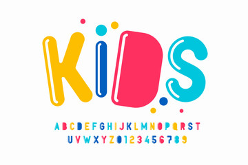 Fototapeta Playful style font design, kids alphabet, letters and numbers