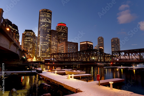 Poster Night view of winter Boston. View of the river bay, bridges and night buildings. USA. Boston. Massachusetts.