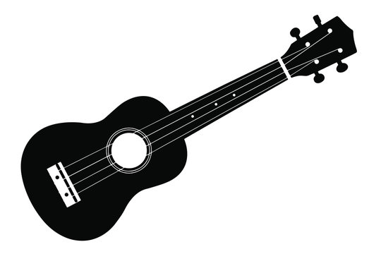 Vector ukulele guitar on a white background. Ukulele isolate. Ukulele guitar silhouette.