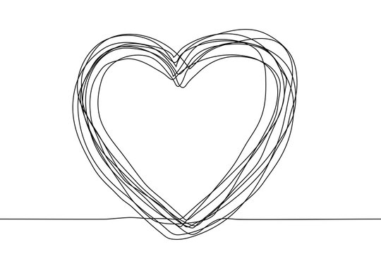 continuous line drawing of a multilayer sketch in the shape of a heart on a white background. Vector horizontal stock illustration. Many black contours that are constant in thickness make up the frame