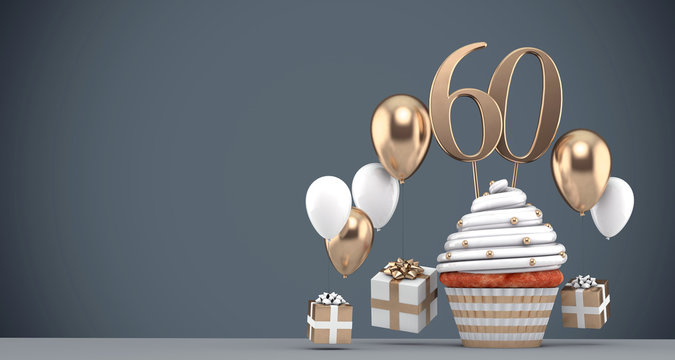 Number 60 gold birthday cupcake with balloons and gifts. 3D Render