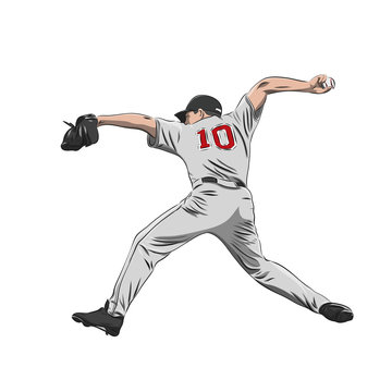 Baseball player, pitcher throwing ball, isolated vector illustration