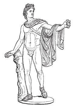 Sculpture of Apollon Belvedere - Vintage illustration from Meyers Konversations-Lexikon 1897