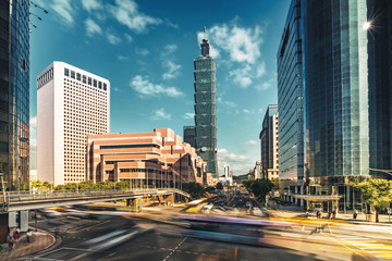 Busy intersection of Taipei central at rush hours, Taiwan