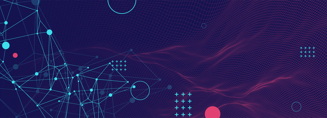 Wall Mural - Wireframe background with plexus effect. Futuristic vector illustration.