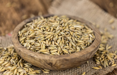 Portion of healthy Oat (selective focus; close-up shot)