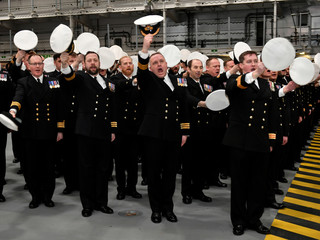 Britain's Prince Charles and Camilla, Duchess of Cornwall attend the official commissioning ceremony of HMS Prince of Wales, in Portsmouth