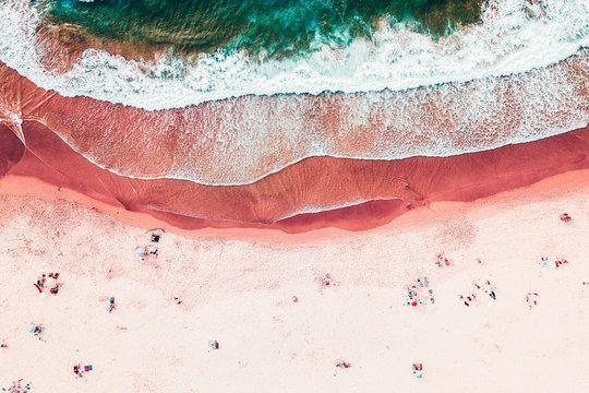 People Crowd On Beach, Aerial View In Summer