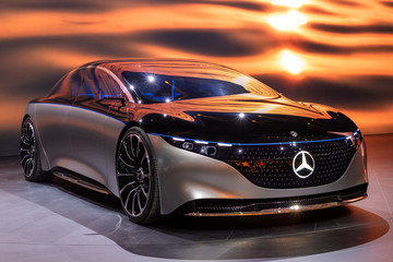 FRANKFURT, GERMANY - SEP 11, 2019: Mercedes Benz Vision EQS luxury electric concept car reveiled at the Frankfurt IAA Motor Show 2019.
