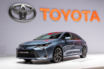 GENEVA, SWITZERLAND - MARCH 6, 2019: Toyota Corolla Hybrid car showcased at the 89th Geneva International Motor Show.