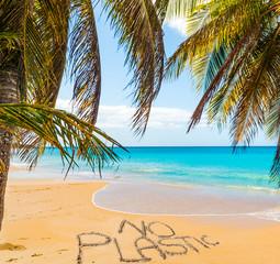 No Plastic written on a beautiful beach under palms