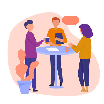 Daily Scrum or Stand-up Scrum with Development team, Scrum Master, and Product Owner. Setting up prioritized worklist. Vector concept illustration.