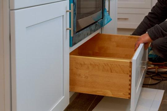 Home improvement kitchen view installed in a new kitchen cabinet