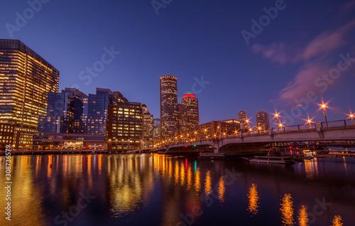 Fotobehang Night view of winter Boston. View of the river bay, bridges and night buildings. USA. Boston. Massachusetts.