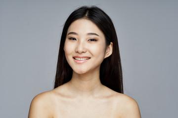 beautiful woman bare shoulders clean skin