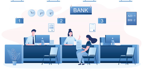 Bank managers and customers characters. Woman client in bank office room. Bank employees or staff on workplace.