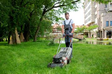 Gardener with his gardening equipment