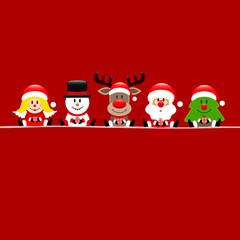 Quadrat Engel Schneemann Rentier Weihnachtsmann Und Baum Rot