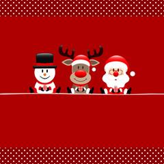 Quadrat Schneemann Rentier Und Weihnachtsmann Bordüre Punkte Rot