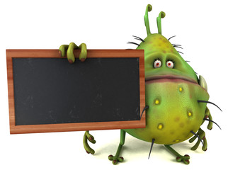 Fun 3D germ bug monster with a chalkboard