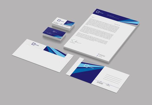 Stationery Layout Set with Blue Geometric Elements