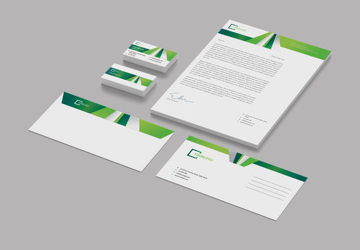 Stationery Layout Set with Green Geometric Elements