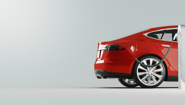 Power supply for electric car charging. Electric car charging station. 3d rendering