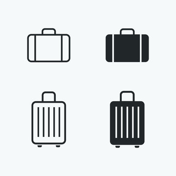 baggage icons set. vector illustration of suitcase for web