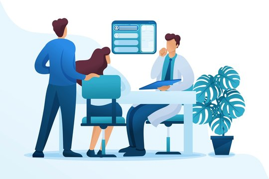 A married couple at a doctor's appointment reproductologist, gynecologist consultation. Flat 2D character. Concept for web design